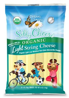 Organic Creamery® Silly Cheese® Light String Cheese has 50% less fat and 25% fewer calories than regular string cheese, but it still packs all of the flavor of string cheese you love! Our light string cheese is a great addition for lunch boxes because it's made with 100% organic milk that is free of pesticides, antibiotics and hormones. A cousin to Mozzarella, Silly Cheese® Light String Cheese has a creamy, smooth texture and mild flavor.