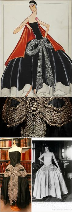 "Robe de style ""La Cavallini,"" by Lanvin, 1925. Clockwise from top: Gouache illustration of ""La Cavallini,"" © Patrimoine Lanvin; detail of pearl and rhinestone bow from the black taffeta version of the dress, © Corinne Jeammet; actress Jane Renouardt in a robe de style featuring a pearl and crystal bow, 1925, from the book ""Lanvin,"" by Dean Merceron (Rizzoli, 2007); the black taffeta dress, photographed at Jeanne Lanvin's office on rue du Faubourg St. Honore, Paris, © Patrimoine Lanvin."