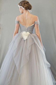 Chic Vintage Dove Grey Wedding Dress