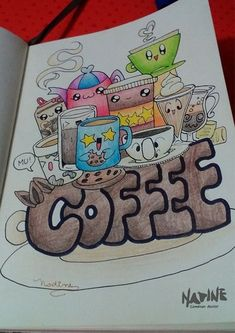 "Doodle art - ""coffee"" artworks in 2019 piirtäminen, taide, m Cute Doodle Art, Doodle Art Designs, Doodle Art Drawing, Cute Doodles, Doodle Patterns, Kawaii Doodles, Cute Art, Simple Doodles, Zen Doodle"