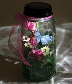 Mason Jar Solar Lid Lights fit on any Mason jar and light up when it's dark outside.