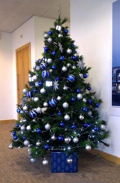 Christmas Tree With Blue Decorations Silver And Blue Christmas Tree  Christmas  Pinterest  Blue .