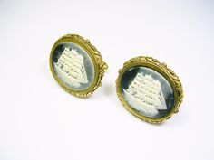 VINTAGE DANTE CUFF LINKS CAMEO INCOLAY STONE CUFFLINKS SAIL SHIP FORMAL WEAR #Dante