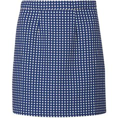 Sugarhill Boutique Hayley Spot Jacquard Skirt, Blue/Cream (85 CAD) ❤ liked on Polyvore featuring skirts, polka dot skirt, cream mini skirt, dot skirt, blue polka dot skirt and sugarhill boutique