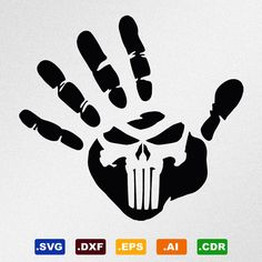 Hand Print Punisher Skull Svg Dxf Eps Ai Cdr by StickThemAll