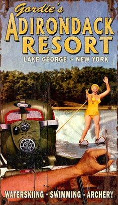 A yellow bathing-suited waterskier having a great time on the lake (or bay?) behind a speedboat sporting a classic vintage Evinrude outboard motor highlights this fun custom lake resort sign. Lake Resort, Jaguar Xk, Lake Cabins, Outboard Motors, Lake George, Beach Signs, Speed Boats, Sport Cars