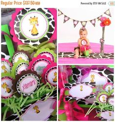ON SALE Giraffe Birthday Party  - Personalized and Assembled - Giraffe Print Hot Pink and Lime Green
