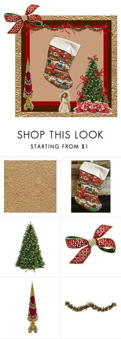 """Quilted Christmas Stocking"" by bamasbabes ❤ liked on Polyvore featuring National Tree Company, Frontgate and Improvements"
