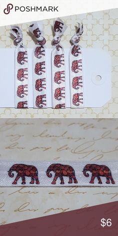 """Set of 4 Paisley Elephant Elastic Hair Ties Set of four 3"""" hair ties made from foldover elastic and heat sealed at the ends to prevent fraying. Handmade by me, Poshpony. Hair ties come with card as shown. Hair ties with patterns are usually plain white on the opposite side. Accessories Hair Accessories"""