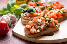 Italian Appetizer Bruschetta. With roasted tomatoes, mozzarella cheese, garlic a #Sponsored , #ADVERTISEMENT, #AD, #Appetizer, #roasted, #cheese, #Bruschetta Healthy Meals For Kids, Easy Meals, Healthy Recipes, Antipasto, Yummy Appetizers, Appetizer Recipes, Vegetarian Appetizers, Appetizer Ideas, Toast Noel