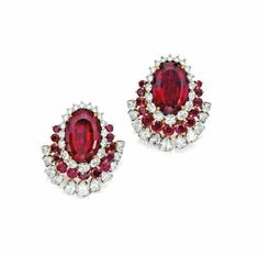 Rubellite, Ruby and Diamond earclips set in Platinum