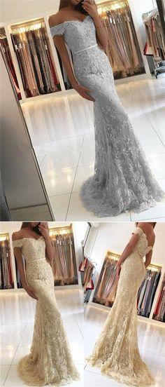 Off Shoulder Lace Beaded Mermaid Long Prom Dresses, Evening Gown, BG0356 #popularbridal #promdresses