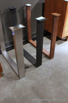 A Pair Dining Table slab legs stainless steel flat iron or Rust iron u shaped in Home & Garden, Furniture, Tables