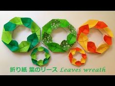 折り紙 葉のリース 立体の折り方(niceno1)Origami leaves wreath tutorial - YouTube Origami Wreath, Origami Ball, Origami Flowers, Wreath Crafts, Diy Crafts, Christmas Origami, Origami Animals, Origami Tutorial, Holiday Crafts