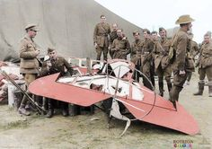 Remnants of the Red Baron's Fokker tri-plane after he was shot down and killed, 1918. Von Richtofen was shot down by an Australian machine gunner whilst flying low, chasing a Canadian flyer.