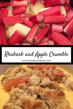 Rhubarb and Apple Crumble- classic crumble dessert recipe with fresh rhubarb and apples. Very easy dessert recipe to make. #dessertrecipes #dessert #rhubarb #apple #crumble #easyrecipe