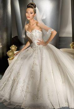 Ball Gown Sweetheart Chapel Train Satin & Organza Luxury Wedding Dress #ShopSimple