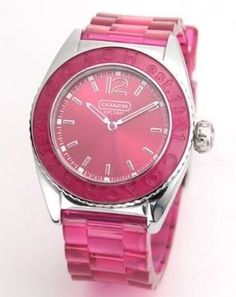 Coach Women's Boyfriend Style Watch Hot Pink