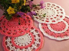 AVAILABLE 1 pc Set of 4 crochet mat Apricotwhite by Handicraftshed