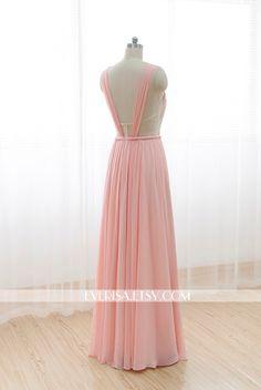 Blush Pink Chiffon Bridesmaid dress Long Prom Dress See Through Backless Dress door Everisa op Etsy https://www.etsy.com/nl/listing/210641680/blush-pink-chiffon-bridesmaid-dress-long
