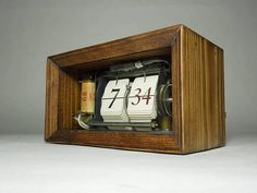 Vintage Retro Up-cycled Flip Alarm Clock 1970s For Office