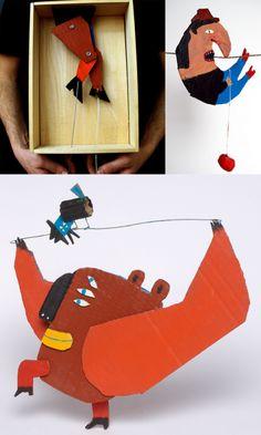 Cardboard art by Andre da Loba Cardboard Sculpture, Cardboard Crafts, Paper Crafts, Cardboard Playhouse, Cardboard Furniture, Paper Puppets, Paper Toys, Art Plastic, Diy For Kids