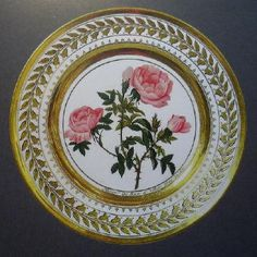 "The plate from The Yusupov Porcelain, Russia, 1826. The plate ""Rosier des hayes a Fleurs semi-doubles""."