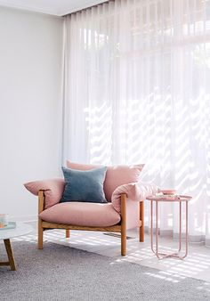 Hannah blackmore photography interior homes photography scandi pink chair