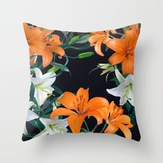 Tropical Lilies on Black - Botanical / Tropical Throw Pillows  Print available as an art print and on many other products (duvet cover, shower curtain, rug, etc.)!   Floral pattern of orange and white lilies. Tropical flowers in bloom. Home decor, interior decoration, living room, sofa accessories.
