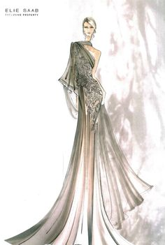 Elie Saab's gorgeous sketches: Courtesy of pinterest.com