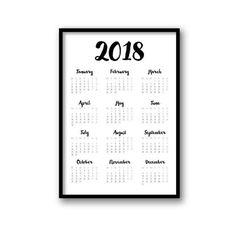 2018 Calendar, Printable Calendar, Black & White Calendar 2018, Modern, Minimalist 2018 Planner, Large Calendar, Wall Calendar Poster by AvenuePrints