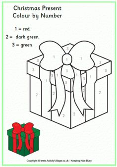 colour by numbers christmas present - Christmas Present Coloring Pages 2