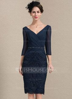 Sheath/Column V-neck Knee-Length Chiffon Lace Mother of the Bride Dress With Ruffle Beading Sequins - Mother of the Bride Dresses - JJsHouse Mother Of The Bride Gown, Mother Of Groom Dresses, Mother Of The Bride Dresses Knee Length, Cocktail Dresses With Sleeves, Ballerina Dress, Ruffle Beading, Mom Dress, Different Dresses, House Dress