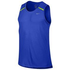 Nike Dri-Fit Touch Tailwind Singlet - Men's - Hyper Blue Heather/Volt/