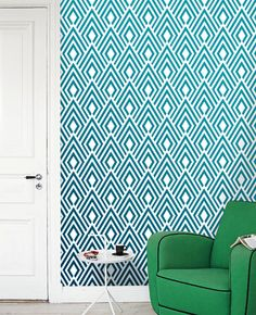 Removable self-adhesive modern vinyl Wallpaper wall sticker - Ikat pattern wallpaper print C004