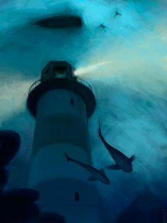 Deep Ocean Lighthouse Whales Art by Sergey Kolesov Cgi, Sergey Kolesov, Chiara Bautista, Landscape Concept, Tomer Hanuka, Light Of The World, Environment Concept, Photoshop, Video Game Art
