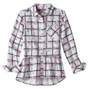 Girls 7-16 & Plus Size SO® Perfectly Soft Button-Front Peplum Shirt