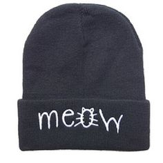 Casual MEOW Warm Winter Hat for Women Fashion Hip-Hop Men Hats Knitted Wool Skullies Beanies Hat For Girl boys Gorros Hombre