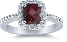 Cushion-Cut Garnet and Diamond Ring, 14K White Gold