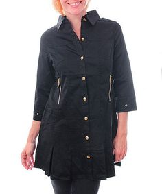 Take a look at this Black Button-Up Tunic by Buy in America on #zulily today! Black Button, Button Up, Misses Clothing, That Look, Take That, Up Styles, Tunic, America, Shirt Dress