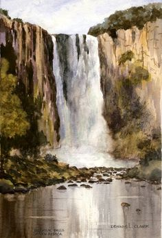 Learn how to paint large waterfalls in watercolors. 2 hour live recorded class replay video available for $14. Get to watch it as often as you want, also get a pdf manual with your replay. art, paint, water, watercolors, watercolours, step by step, lesson