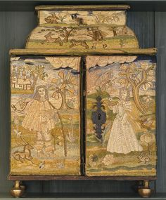 CHARLES II NEEDLEWORK CASKET, SECOND HALF 17TH CENTURY Depicting a lady and a courtier with hunt and pastoral scenes, worked in satin, outline and other stitches. Height 15 1/2 in. by Width 11 1/2 in. by Depth 9 in.