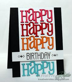 Clearly Whimsy card created by Kristie Goulet using Happy Large Word die and Birthday Balloon stamp set.