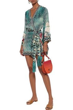 Camilla Woman Her Heirloom Wrap-effect Embellished Printed Silk Crepe De Chine Playsuit Teal Camilla Clothing, Printed Silk, Silk Crepe, Playsuit, World Of Fashion, Luxury Branding, Teal, Woman, Fabric