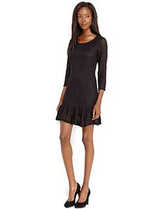LOVE BY MASSIMILIANO BINI Black Pointelle Knit Dress
