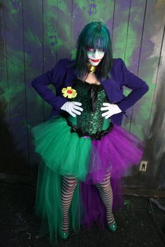 The Joker Adult tutu skirt Cosplay two tone by SistersOfTheMoon Diy Costumes, Dance Costumes, Halloween Costumes, Halloween Makeup, Creative Costumes, Costume Ideas, Female Joker Costume, Joker Outfit, Adult Tutu Skirts