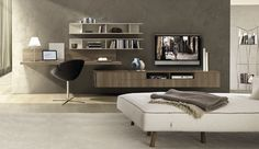 TV wall unit - All architecture and design manufacturers - Videos Tv Unit Interior Design, Modern Interior Design, Home Office Design, Home Office Decor, Home Decor, Interior Design And Construction, Living Room Wall Units, Muebles Living, Lobby Interior
