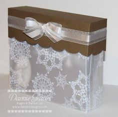 Cute box. In blue and siver, might be a great idea for cards at the wedding! http://www.danniesdesigns.com/my_weblog/2013/01/snowflake-box.html?pintix=1