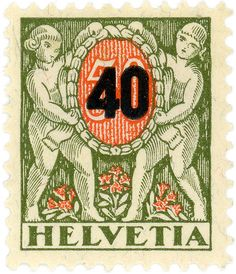 Switzerland postage stamp: Helvetia | by karen horton - design c. 1924, w/ surcharge c. 1937