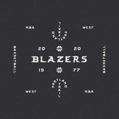 Portland Trail Blazers NBA Alternate Logo designed by James Coffman  Typeface: El Sol Portland Trail Blazers, Site Design, Logo Design, Nba West, Branding, Band Tees, Design Trends, Typography, Gd